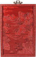 Furniture, A Large Chinese Red Lacquer Wall Panel. 45 x 30-1/2 x 1-1/2 inches (114.3 x 77.5 x 3.8 cm). ...
