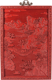 A Large Chinese Red Lacquer Wall Panel 45 x 30-1/2 x 1-1/2 inches (114.3 x 77.5 x 3.8 cm)