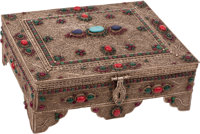 A Silvered and Filigree Box Mounted with Semi-Precious Stones 4-1/2 x 12 x 10 inches (11.4 x 30.5 x 25.4 cm)