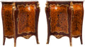 Furniture, A Pair of Louis XV-Style Gilt Bronze Mounted Marquetry Commodes with Marble Tops. 45 x 42-1/2 x 18 inches (114.3 x 108.0 x 4... (Total: 2 )