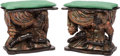 Furniture, A Pair of Venetian Rococo-Style Carved and Polychromed Wood Blackamoor Benches, late 19th century. 20 x 23 x 14 inches (50.8... (Total: 2 )