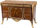 Furniture, A French Louis XV-Style Gilt Bronze Mounted Marquetry Commode with Marble Top, 19th century. 35 x 53 x 20 inches (88.9 x 134...