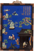 Furniture, A Large Chinese Painted Lacquer and Carved Hardstone Appliqued Wall Panel. 60 x 39 x 2 inches (152.4 x 99.1 x 5.1 cm). ...