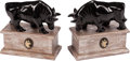 Sculpture, A Pair of Carved Black Onyx Bull Figural Bookends on Silvered Wood Plinths. 9 x 9 x 4-1/2 inches (22.9 x 22.9 x 11.4 cm) (ea... (Total: 2 )