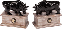 A Pair of Carved Black Onyx Bull Figural Bookends on Silvered Wood Plinths 9 x 9 x 4-1/2 inches (22.9 x 22.9 x 11
