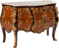 A Louis XV-Style Gilt Bronze Mounted Marquetry Commode after the Model by Charles Crescent 45 x 42-1/2 x 18 inches