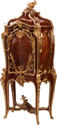 A Louis XV-Style Gilt Bronze Mounted Marquetry Commode 83 x 39 x 20 inches (210.8 x 99.1 x 50.8 cm)
