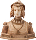 Sculpture, Italian School (Late 19th century). Bust of a Renaissance Lady with a Hat. Alabaster. 24 x 23 x 9 inches (61.0 x 58.4 x ...