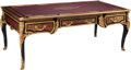 Furniture, A Louis XV-Style Faux Boulle and Gilt Bronze-Mounted Ebonized Bureau Plat with Inset Leather Panel. 33 x 87 x 42 inches (83....
