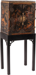 Furniture, An George III-Style Japanned Cabinet on Stand. 49-1/2 x 21-1/2 x 14 inches (125.7 x 54.6 x 35.6 cm). ... (Total: 2 )