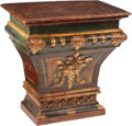Furniture, An Baroque-Style Carved and Painted Giltwood Pedestal, 19th century. 35 x 34-1/2 x 20 inches (88.9 x 87.6 x 50.8 cm). ...