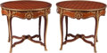 Furniture, A Pair of Louis XV-Style Gilt Bronze Mounted Parquetry Center Tables. 30-1/2 x 35 inches (77.5 x 88.9 cm) (each). ... (Total: 2 )