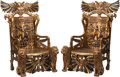 Furniture, A Pair of Egyptian Revival Carved and Painted Wood Throne Chairs. 58 x 35-1/2 x 30 inches (147.3 x 90.2 x 76.2 cm) (each). ... (Total: 2 )