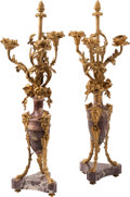 Lighting:Candelabra, A Pair of Louis XV-Style Gilt Bronze Mounted Marble Three-Light Candelabra. 25-1/2 x 9-1/2 x 9-1/4 inches (64.8 x 24.1 x 23.... (Total: 2 )