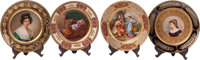 A Group of Four Royal Vienna-Style Painted Porcelain Portrait Cabinet Plates, late 19th century Marks: (shield)