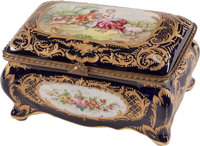 A French Sevres-Style Gilt and Cobalt Ground Porcelain Box, 19th century Marks: (pseudo crossed swords) 6-1/2 x