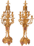 Lighting, A Pair of Louis XVI-Style Gilt Bronze and Rouge Marble Six-Light Candelabra, 19th century. 37 x 12 x 12 inches (94.0 x 30.5 ... (Total: 2 )