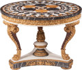 Furniture, A Neoclassical-Style Specimen Marble and Giltwood Center Table. 32 x 42 inches (81.3 x 106.7 cm). ...