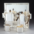 Silver & Vertu, A Five-Piece Goldsmith & Silversmiths Co. Ltd. Tea Service, London, 1934. Marks: (lion passant), (leopard's head), t, (j... (Total: 5 Items)