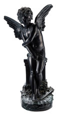 Sculpture, Hippolyte François Moreau (French, 1832-1927). Cupid, late 19th century. After William-Adolphe Bouguereau. Dark patinate...