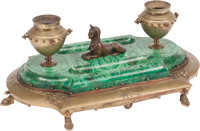 A Neoclassical-Style Gilt Bronze and Malachite Encrier, late 19th century 7 x 16 x 10 inches (17.8 x 40.6 x 25.4 c