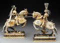 Silver Holloware, Continental, A Pair of Ludwig Neresheimer Partial Gilt Silver Jousting Knights on Horseback, Hanau, Germany, circa 1900. Marks: 800, ... (Total: 2 Items)