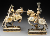 A Pair of Ludwig Neresheimer Partial Gilt Silver Jousting Knights on Horseback, Hanau, Germany, circa 1900 Marks: