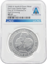 Apollo 8 Manned Flight Awareness Medal MS67 NGC, One of Only Ten Presented to Neil Armstrong, Directly from The Armstron...