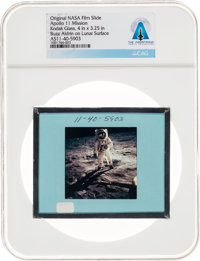 Apollo 11 Original NASA Glass Film Slide, an Image of Buzz Aldrin on Lunar Surface, Directly From The Armstrong Family C...
