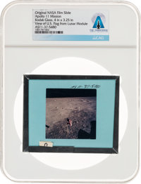 Apollo 11 Original NASA Glass Film Slide, an Image of the U.S. Flag from Lunar Module, Directly From The Armstrong Famil...