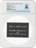 Explorers:Space Exploration, Neil Armstrong's Personal NASA Leather Name Tag Directly From The Armstrong Family Collection™, CAG Certified....