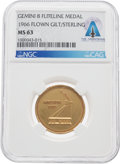 Explorers:Space Exploration, Gemini 8 Flown MS63 NGC Gold-Colored Fliteline Medallion Directly From The Armstrong Family Collection™, CAG Certified. ...