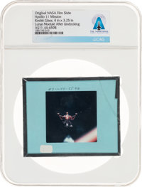 Apollo 11 Original NASA Glass Film Slide, an Image of Lunar Module after Undocking, Directly From The Armstrong Family C...