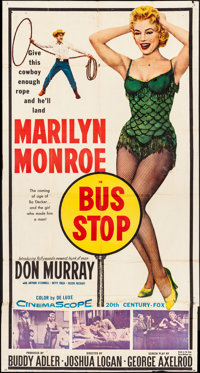 "Bus Stop (20th Century Fox, 1956). Folded, Fine. Three Sheet (41"" X 77""). Drama"