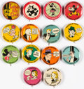 Premiums:Miscellaneous, Philadelphia Evening Ledger Fun Club Comic Strips Pinback Buttons Set of 14 (Philadelphia Ledger, 1933).... (Total: 14 Comic Books)