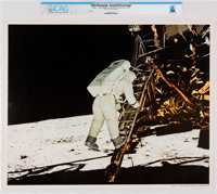 NASA: Apollo 11 - Aldrin Stepping from LM to Moon's Surface, July 20, 1969 Color Lithograph AP1104, Directly From The Ar...