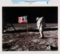 Explorers:Space Exploration, NASA: Apollo 11 - Aldrin & Old Glory on the Moon, July 20, 1969 Color Lithograph AP1106, Directly From The Armstrong Famil...