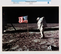 NASA: Apollo 11 - Aldrin & Old Glory on the Moon, July 20, 1969 Color Lithograph AP1106, Directly From The Armst...