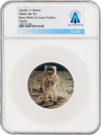 "Apollo 11: ""Buzz Aldrin on Lunar Surface"" Button Directly From The Armstrong Family Collection™, CAG Certified..."
