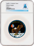 """Explorers:Space Exploration, Apollo 11: """"Mission Insignia"""" Wooden Token Directly From The Armstrong Family Collection™, CAG Certified. ..."""
