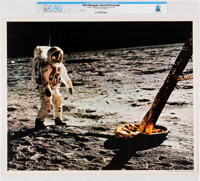 NASA: Apollo 11 - Aldrin & LM Leg on the Moon, July 20, 1969 Color Lithograph AP1105, Directly From The Armstron...