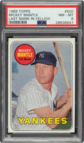 Baseball Cards:Singles (1960-1969), 1969 Topps Mickey Mantle (Yellow) #500 PSA NM-MT 8. ...