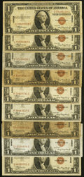 Small Size:World War II Emergency Notes, Fr. 2300 $1 1935A Hawaii Silver Certificates. Nine Examples. Very Good or Better.. ... (Total: 9 notes)