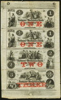 Obsoletes By State:New Hampshire, Rochester, NH- Farmers and Mechanics Bank $1-$1-$2-$3 Nov. 1, 18__ X1 Uncut Sheet Fine-Very Fine.. ...