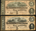 Confederate Notes:1864 Issues, T69 $5 1864 Two Examples PF-9; PF-11 Cr. 563; Cr. 565. Crisp Uncirculated; Very Fine=Extremely Fine.. ... (Total: 2 notes)