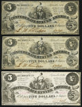 Confederate Notes:1861 Issues, T36 $5 1861 PF-4 Cr. 278 Three Examples Extremely Fine or Better.. ... (Total: 3 notes)