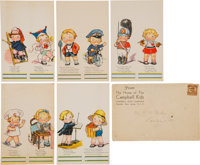 """Circa 1930 Campbell Soup Co. """"Campbell Kids"""" Place Cards Collection (30) Plus Envelope"""