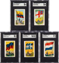 Non-Sport Cards:Lots, C. 1930's V251 Canadian Chewing Gum Flags of All Nations Collection (18 Different) Plus Original Mailing Box. ...