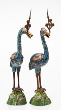 Metalwork, A Pair of Chinese Crane-Form Cloisonné Candle Prickets, early 20th century. 19-5/8 x 6 x 4-1/2 inches (49.8 x 15.2 x 11.4 cm... (Total: 2 Items)