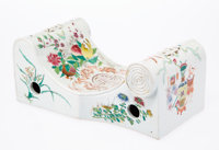 A Chinese Porcelain Pillow 5-1/8 x 12-1/4 x 6 inches (13.0 x 31.1 x 15.2 cm)